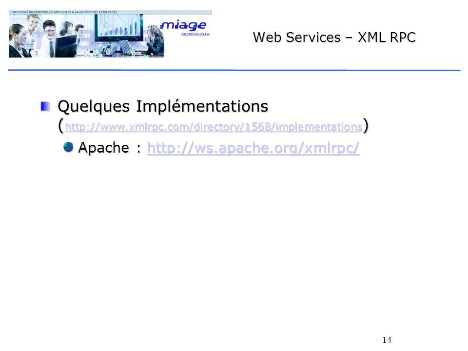 14 Web Services – XML RPC Quelques Implémentations ( http://www.xmlrpc.com/directory/1568/implementations ) http://www.xmlrpc.com/directory/1568/implementations Apache : http://ws.apache.org/xmlrpc/ http://ws.apache.org/xmlrpc/