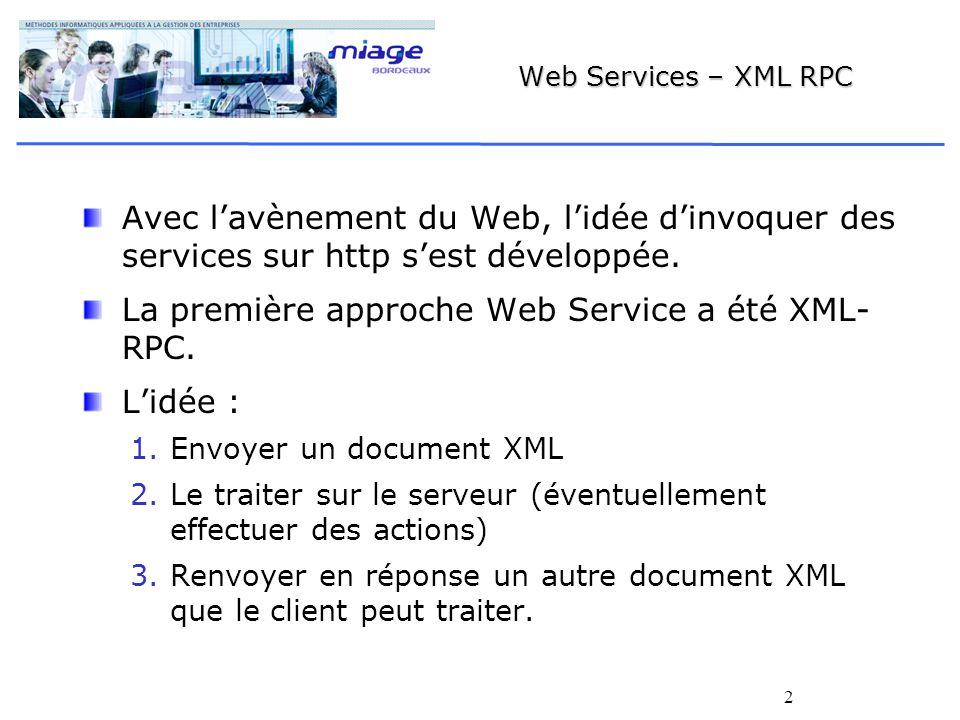2 Web Services – XML RPC Avec lavènement du Web, lidée dinvoquer des services sur http sest développée.
