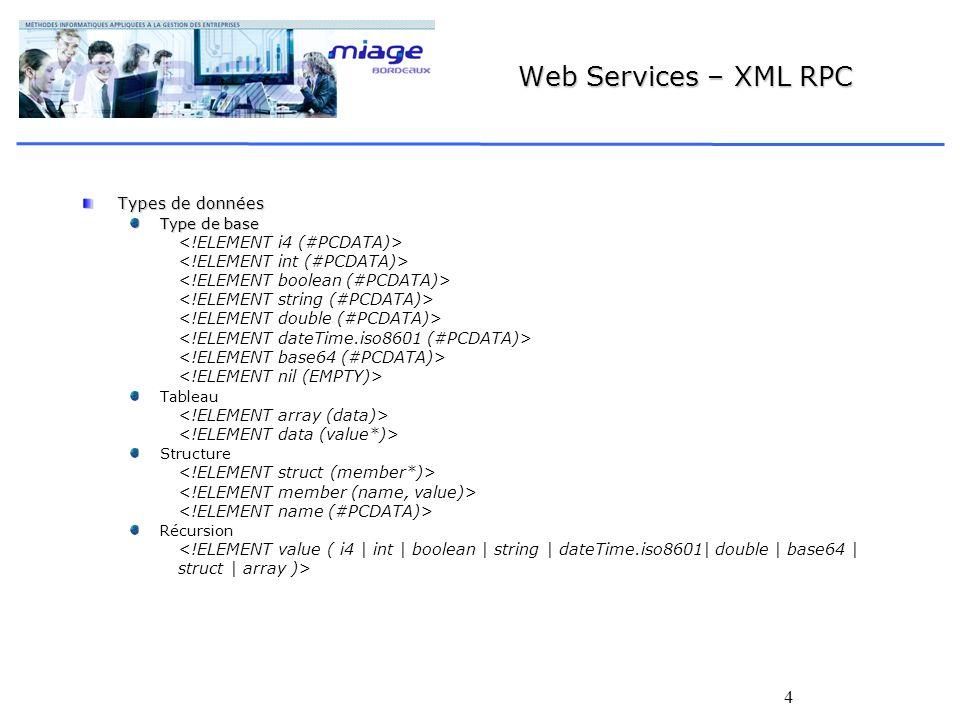 4 Web Services – XML RPC Types de données Type de base Tableau Structure Récursion <!ELEMENT value ( i4 | int | boolean | string | dateTime.iso8601| double | base64 | struct | array )>
