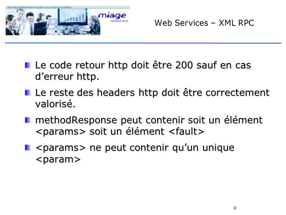 9 Web Services – XML RPC Le code retour http doit être 200 sauf en cas derreur http.