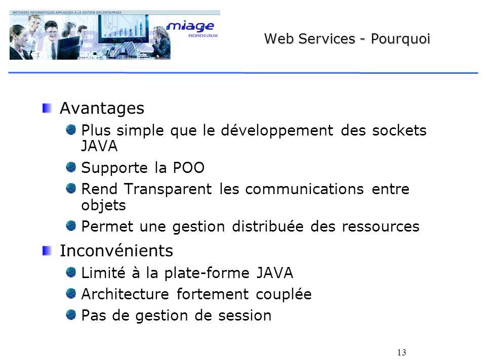 13 Web Services - Pourquoi Avantages Plus simple que le développement des sockets JAVA Supporte la POO Rend Transparent les communications entre objet