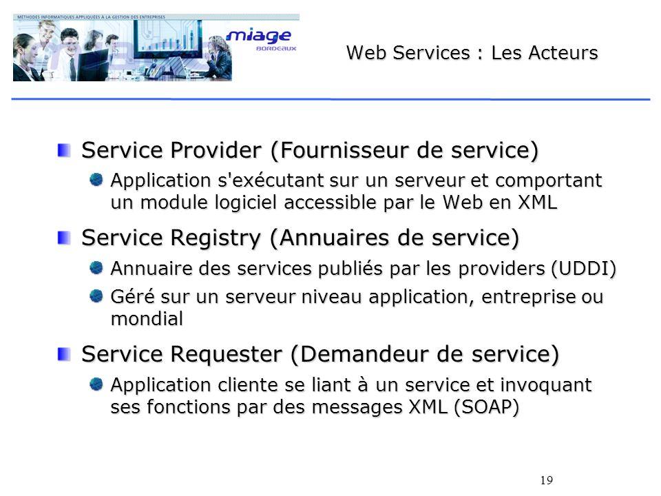 19 Web Services : Les Acteurs Service Provider (Fournisseur de service) Application s'exécutant sur un serveur et comportant un module logiciel access