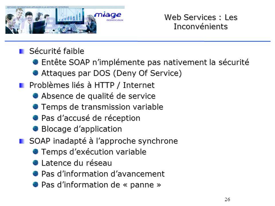 26 Web Services : Les Inconvénients Sécurité faible Entête SOAP nimplémente pas nativement la sécurité Attaques par DOS (Deny Of Service) Problèmes li