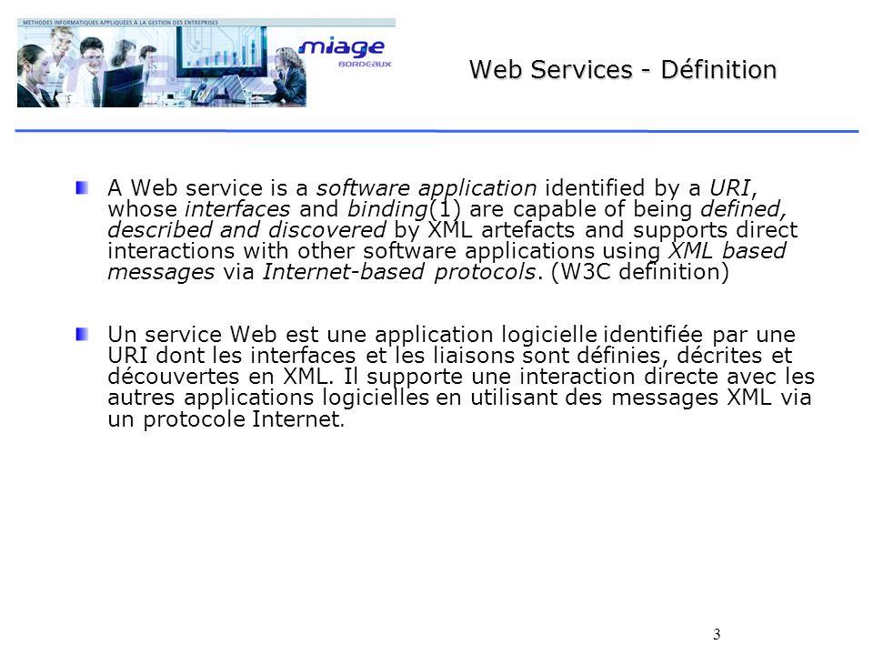 24 Web Services : Produits Apache SOAP (Apache project) Servlet permet de déployer les services Appel servlet depuis SOAP Web Services Toolkit (IBM, alphaWorks) Générateur WSDL à partir de classe Java ou EJB Générateur de Proxy client Java Metro Implémentation de référence (jax-ws) Autres BEA (Oracle), Broadvision, etc.