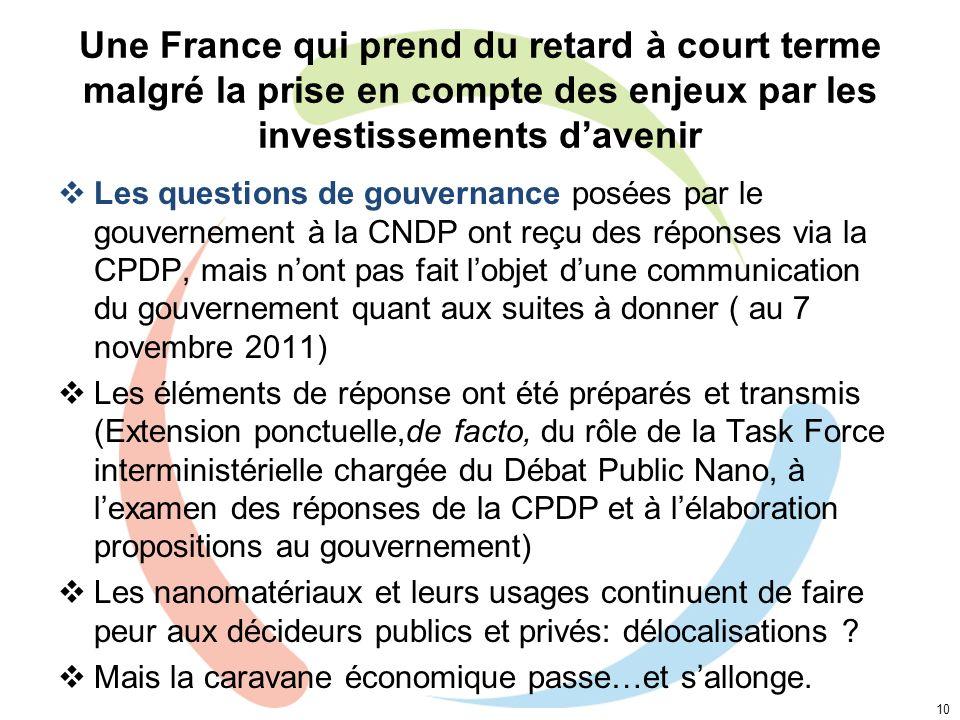 Une France qui prend du retard à court terme malgré la prise en compte des enjeux par les investissements davenir Les questions de gouvernance posées
