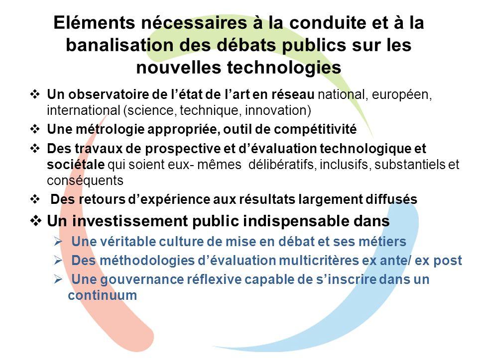Eléments nécessaires à la conduite et à la banalisation des débats publics sur les nouvelles technologies Un observatoire de létat de lart en réseau n