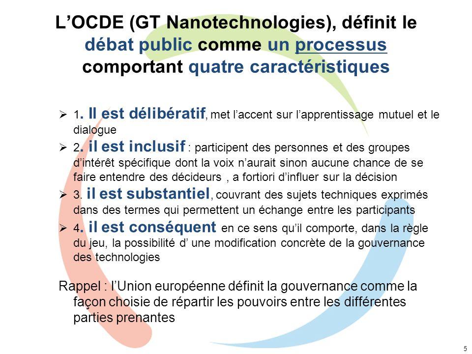 LOCDE (GT Nanotechnologies), définit le débat public comme un processus comportant quatre caractéristiques 5 1. Il est délibératif, met laccent sur la