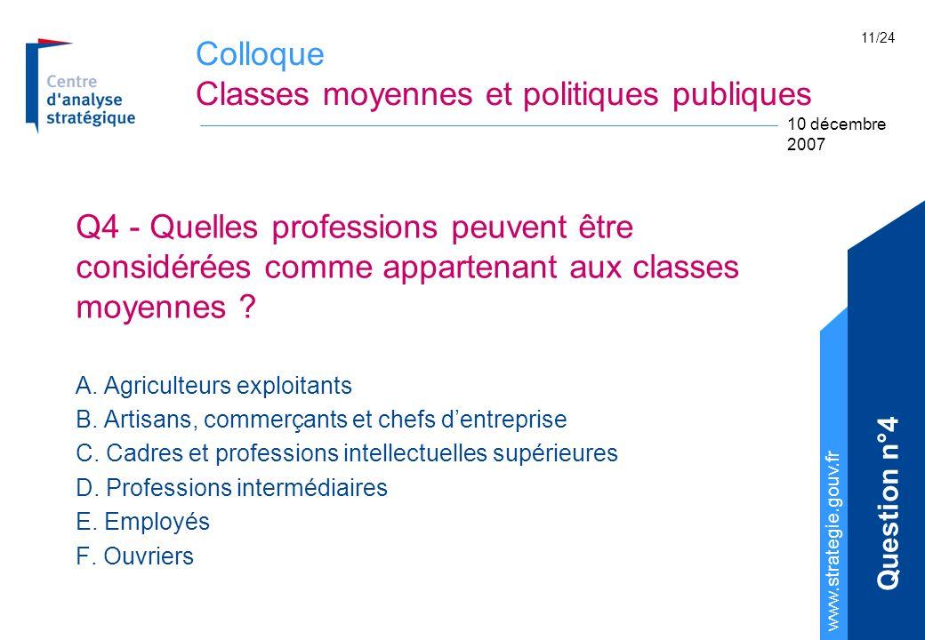 Colloque Classes moyennes et politiques publiques www.strategie.gouv.fr 10 décembre 2007 11/24 Q4 - Quelles professions peuvent être considérées comme appartenant aux classes moyennes .
