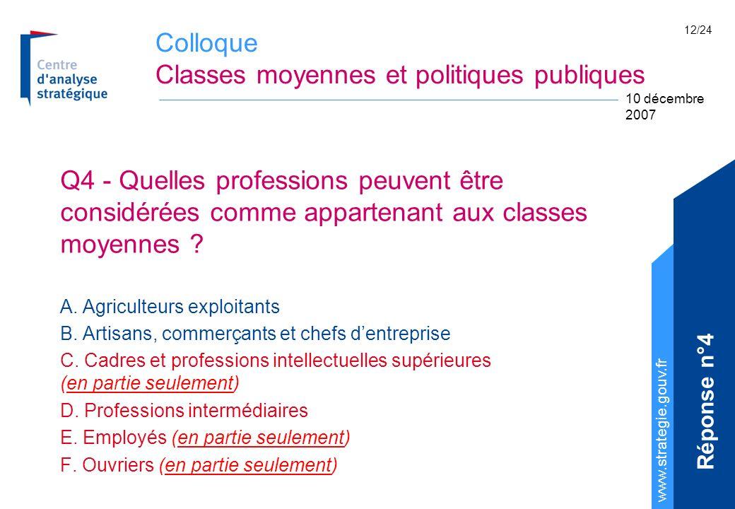 Colloque Classes moyennes et politiques publiques www.strategie.gouv.fr 10 décembre 2007 12/24 Q4 - Quelles professions peuvent être considérées comme