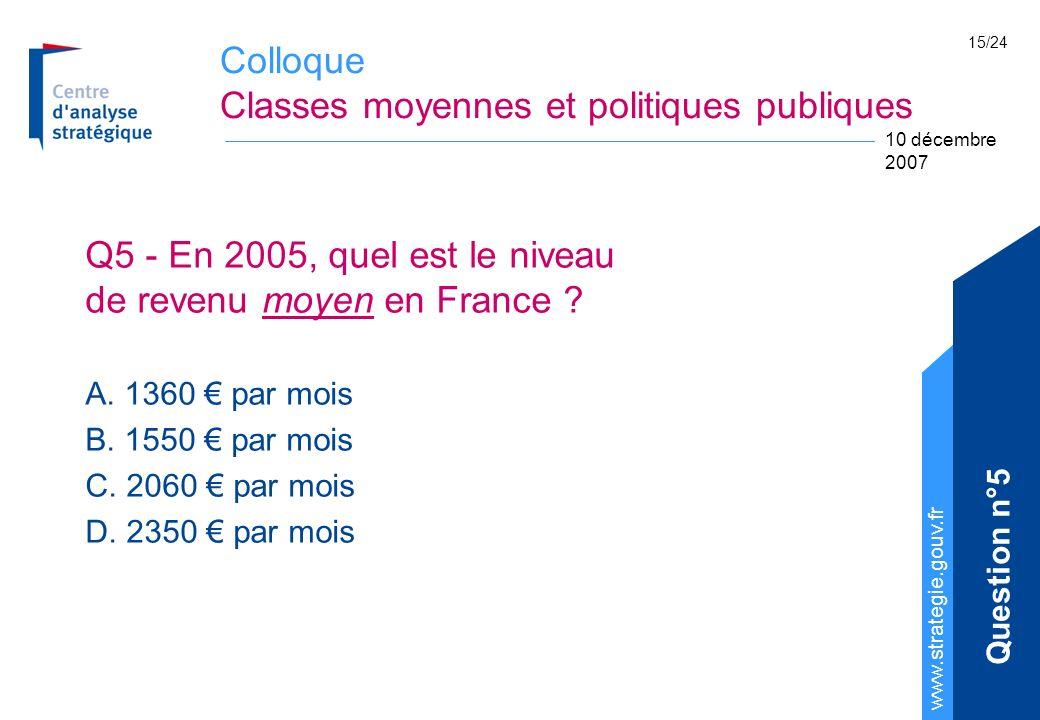 Colloque Classes moyennes et politiques publiques www.strategie.gouv.fr 10 décembre 2007 15/24 Q5 - En 2005, quel est le niveau de revenu moyen en Fra