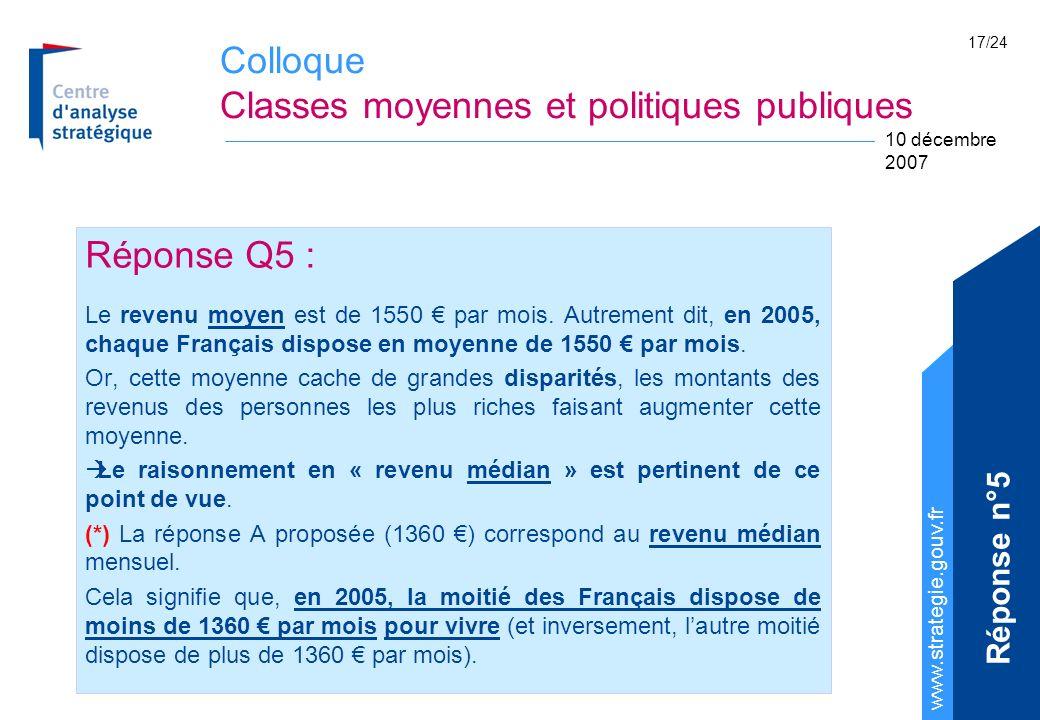 Colloque Classes moyennes et politiques publiques www.strategie.gouv.fr 10 décembre 2007 17/24 Réponse Q5 : Le revenu moyen est de 1550 par mois.