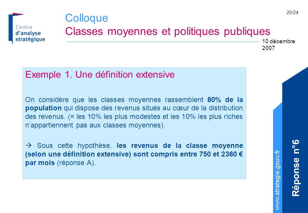 Colloque Classes moyennes et politiques publiques www.strategie.gouv.fr 10 décembre 2007 20/24 Exemple 1. Une définition extensive On considère que le