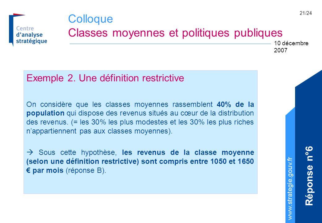 Colloque Classes moyennes et politiques publiques www.strategie.gouv.fr 10 décembre 2007 21/24 Exemple 2. Une définition restrictive On considère que