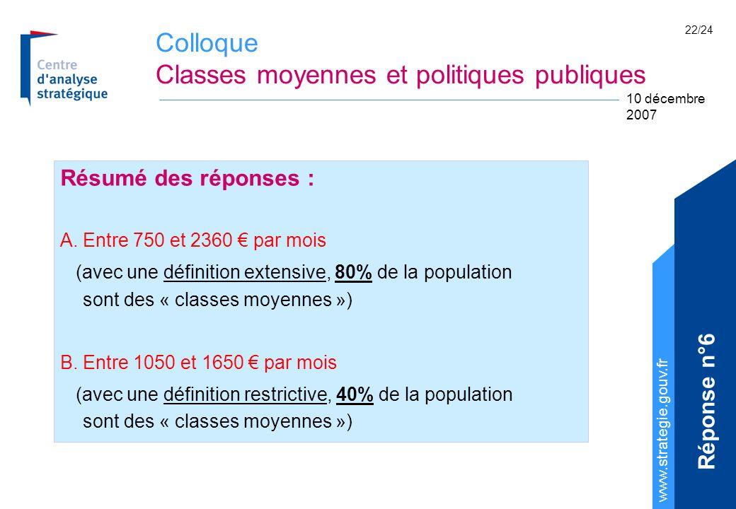 Colloque Classes moyennes et politiques publiques www.strategie.gouv.fr 10 décembre 2007 22/24 Résumé des réponses : A.Entre 750 et 2360 par mois (avec une définition extensive, 80% de la population sont des « classes moyennes ») B.