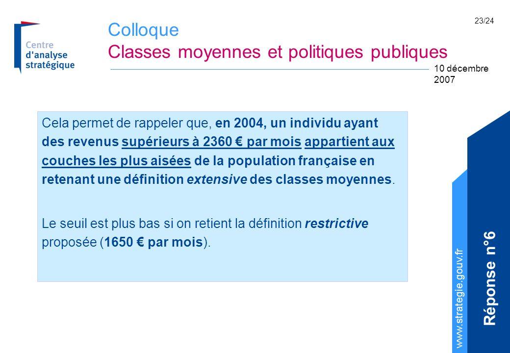 Colloque Classes moyennes et politiques publiques www.strategie.gouv.fr 10 décembre 2007 23/24 Cela permet de rappeler que, en 2004, un individu ayant des revenus supérieurs à 2360 par mois appartient aux couches les plus aisées de la population française en retenant une définition extensive des classes moyennes.