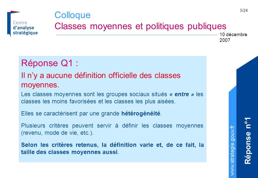 Colloque Classes moyennes et politiques publiques www.strategie.gouv.fr 10 décembre 2007 5/24 Réponse Q1 : Il ny a aucune définition officielle des cl