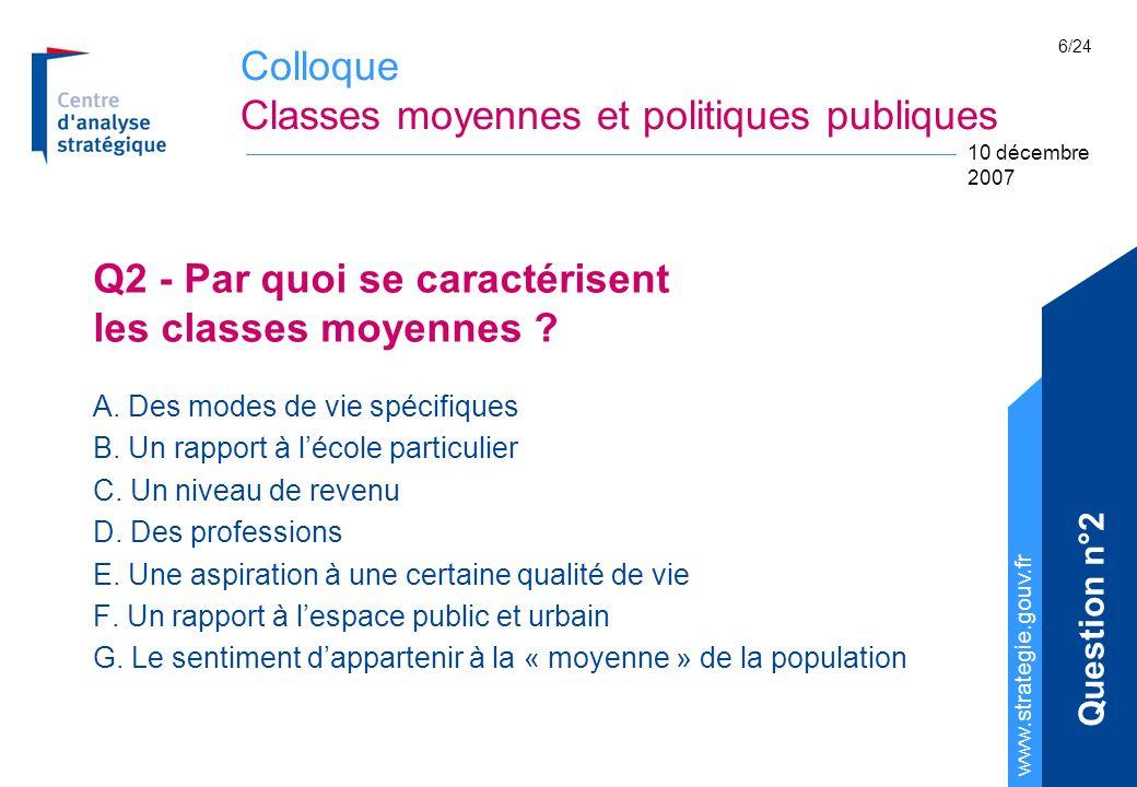 Colloque Classes moyennes et politiques publiques www.strategie.gouv.fr 10 décembre 2007 6/24 Q2 - Par quoi se caractérisent les classes moyennes ? A.
