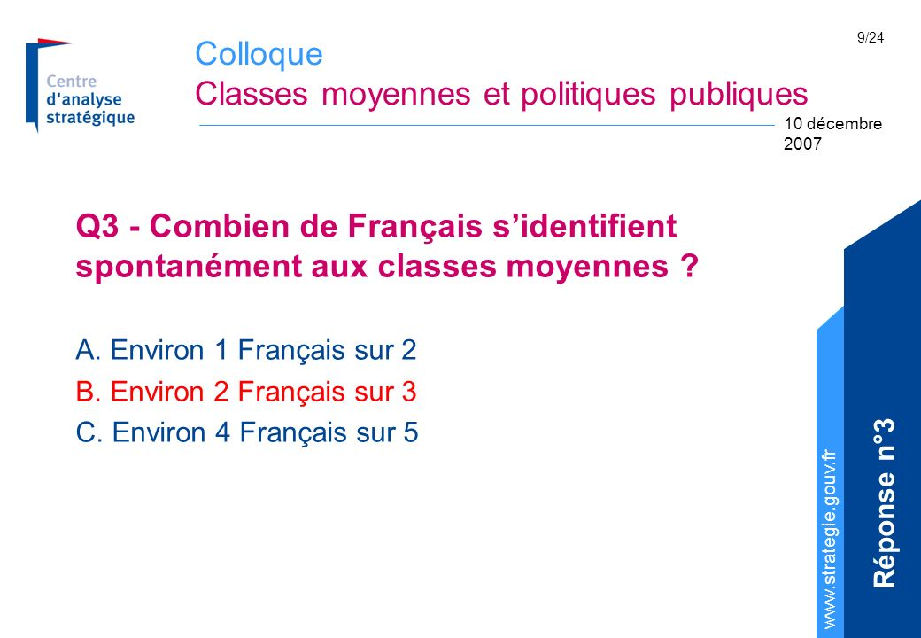 Colloque Classes moyennes et politiques publiques www.strategie.gouv.fr 10 décembre 2007 9/24 Q3 - Combien de Français sidentifient spontanément aux classes moyennes .