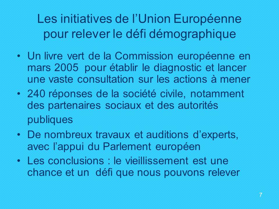 7 Les initiatives de lUnion Européenne pour relever le défi démographique Un livre vert de la Commission européenne en mars 2005 pour établir le diagn