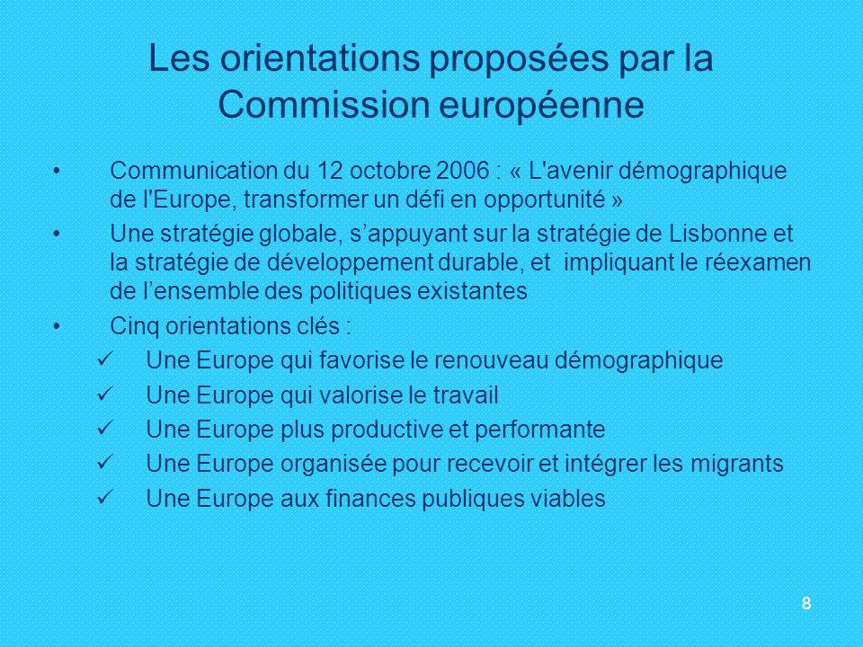 8 Les orientations proposées par la Commission européenne Communication du 12 octobre 2006 : « L'avenir démographique de l'Europe, transformer un défi