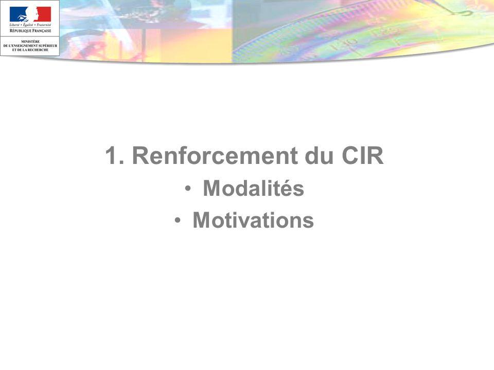 1. Renforcement du CIR Modalités Motivations