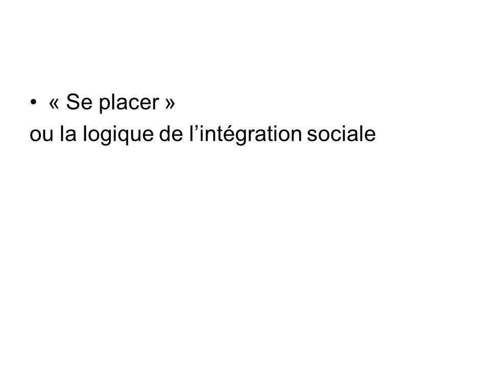 « Se placer » ou la logique de lintégration sociale