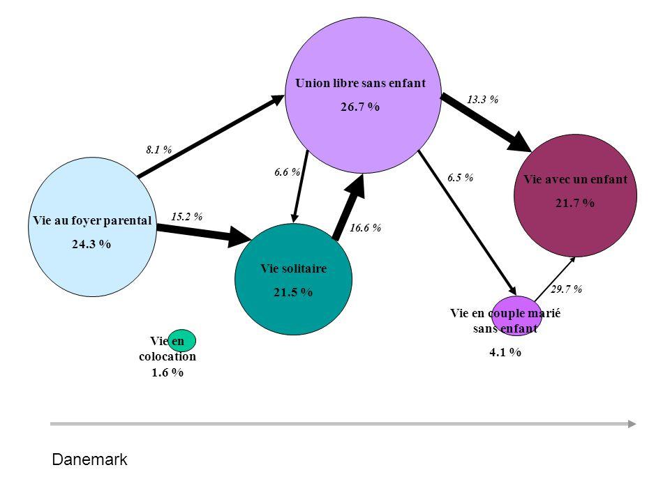 Etudiant non salarié 19,3 % Etudiant salarié 22,8 % Autre inactif 2 % Salarié à temps partiel 3,1 % Salarié à temps plein 45,6 % 19 % 35,6 % 26,6 % 7,9 % 31,8 % 4,4 % Chômeur 7,2 % Danemark