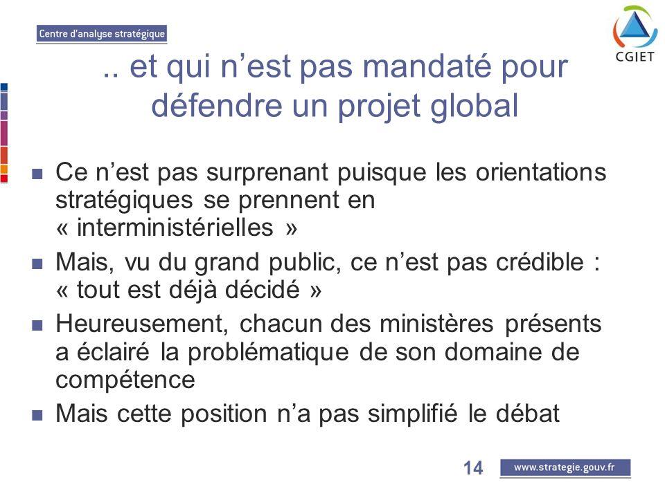 14.. et qui nest pas mandaté pour défendre un projet global Ce nest pas surprenant puisque les orientations stratégiques se prennent en « interministé