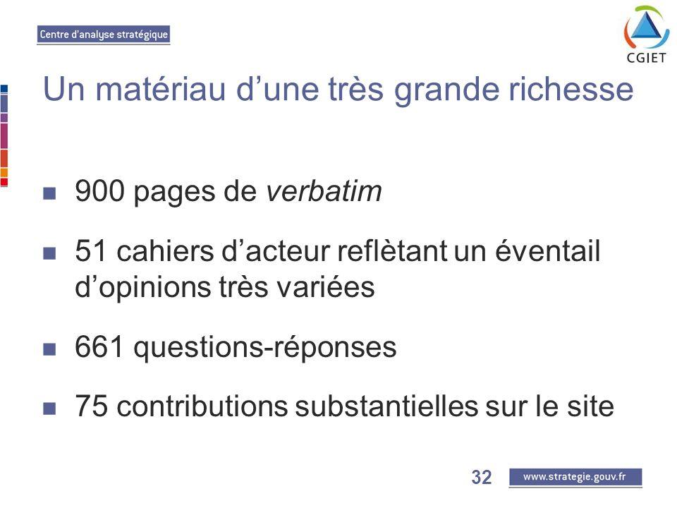 32 Un matériau dune très grande richesse 900 pages de verbatim 51 cahiers dacteur reflètant un éventail dopinions très variées 661 questions-réponses 75 contributions substantielles sur le site