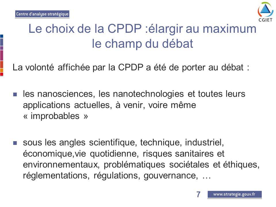 7 La volonté affichée par la CPDP a été de porter au débat : les nanosciences, les nanotechnologies et toutes leurs applications actuelles, à venir, voire même « improbables » sous les angles scientifique, technique, industriel, économique,vie quotidienne, risques sanitaires et environnementaux, problématiques sociétales et éthiques, réglementations, régulations, gouvernance, … Le choix de la CPDP :élargir au maximum le champ du débat