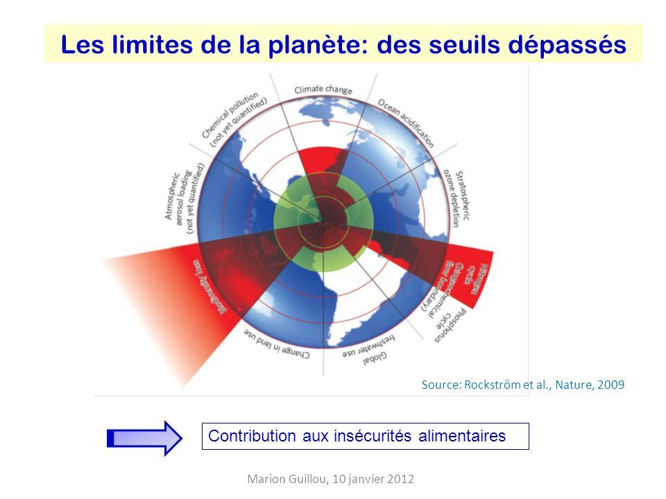 Les limites de la planète: des seuils dépassés Source: Rockström et al., Nature, 2009 Contribution aux insécurités alimentaires Marion Guillou, 10 janvier 2012