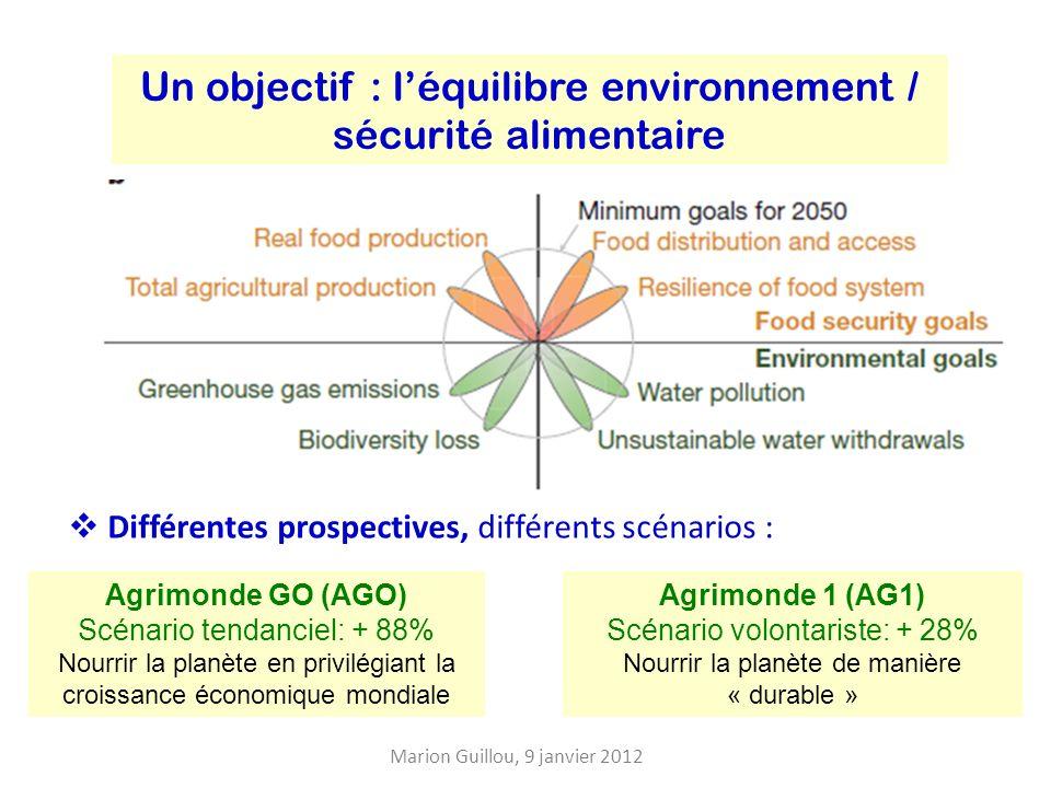 Un objectif : léquilibre environnement / sécurité alimentaire Marion Guillou, 9 janvier 2012 Agrimonde GO (AGO) Scénario tendanciel: + 88% Nourrir la planète en privilégiant la croissance économique mondiale Agrimonde 1 (AG1) Scénario volontariste: + 28% Nourrir la planète de manière « durable » Différentes prospectives, différents scénarios :
