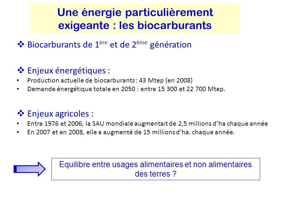 Biocarburants de 1 ère et de 2 ème génération Une énergie particulièrement exigeante : les biocarburants Enjeux énergétiques : Production actuelle de biocarburants : 43 Mtep (en 2008) Demande énergétique totale en 2050 : entre 15 300 et 22 700 Mtep.