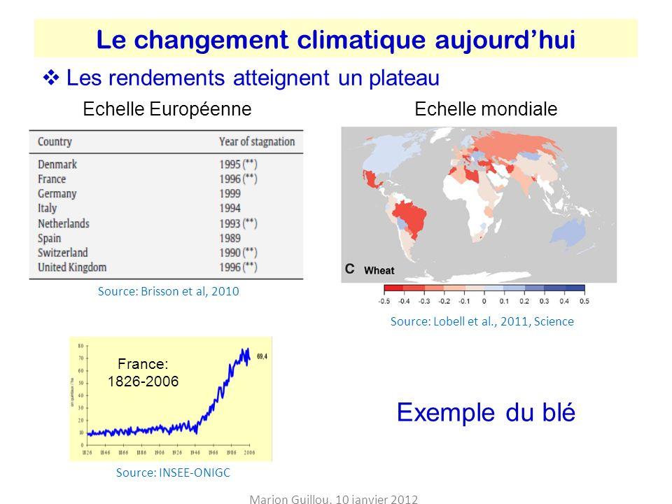 Evolution de la prévalence dobésité entre 1980 et 2008 Source: Finucane et al., 2011, The Lancet HommesFemmes Marion Guillou, 10 janvier 2012