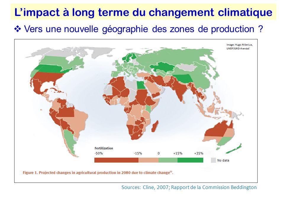Sources: Cline, 2007; Rapport de la Commission Beddington Limpact à long terme du changement climatique Vers une nouvelle géographie des zones de production ?