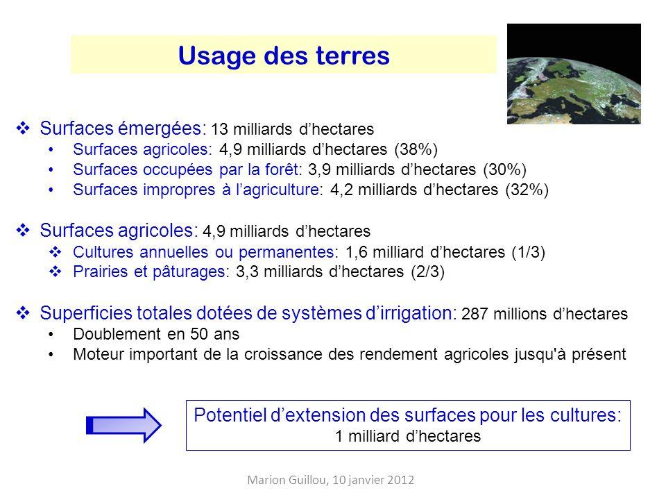 Usage des terres Surfaces émergées: 13 milliards dhectares Surfaces agricoles: 4,9 milliards dhectares (38%) Surfaces occupées par la forêt: 3,9 milliards dhectares (30%) Surfaces impropres à lagriculture: 4,2 milliards dhectares (32%) Surfaces agricoles: 4,9 milliards dhectares Cultures annuelles ou permanentes: 1,6 milliard dhectares (1/3) Prairies et pâturages: 3,3 milliards dhectares (2/3) Superficies totales dotées de systèmes dirrigation: 287 millions dhectares Doublement en 50 ans Moteur important de la croissance des rendement agricoles jusqu à présent Potentiel dextension des surfaces pour les cultures: 1 milliard dhectares Marion Guillou, 10 janvier 2012