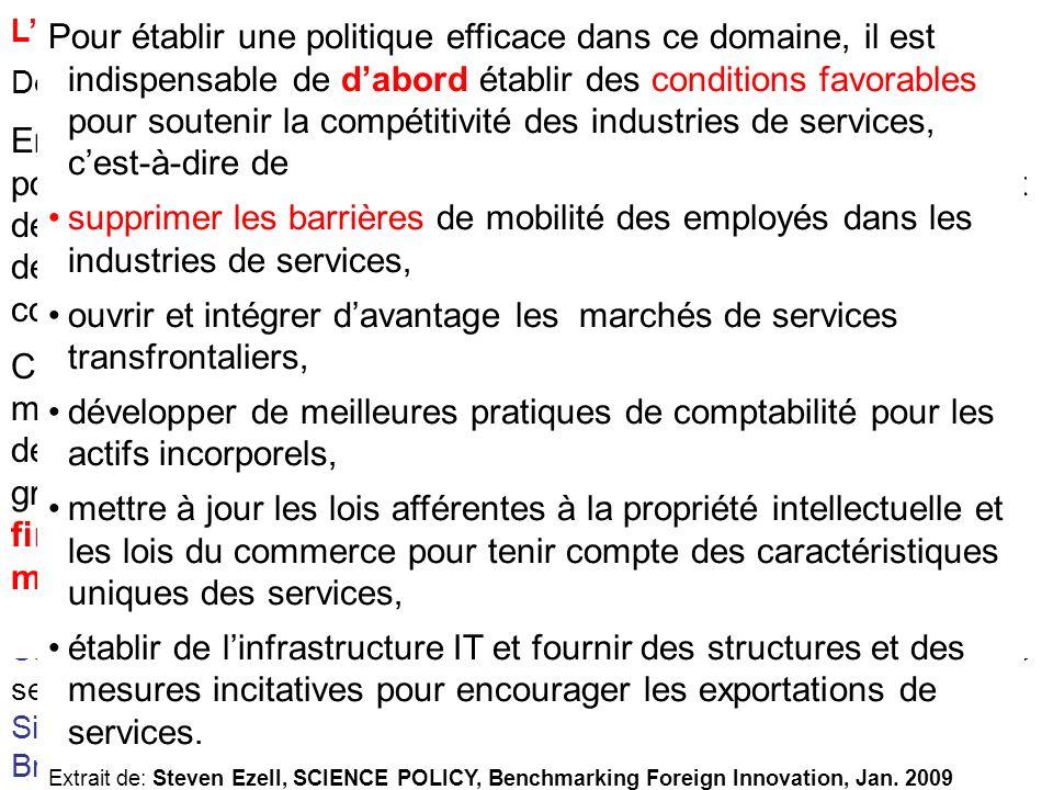 Linnovation dans les Services Depuis quelques années, un changement de tendance très net sest opéré: léconomie des nations se déplace de la production