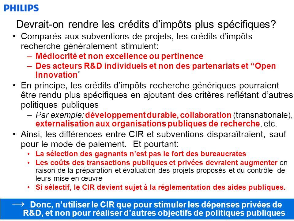 Comparés aux subventions de projets, les crédits dimpôts recherche généralement stimulent: –Médiocrité et non excellence ou pertinence –Des acteurs R&