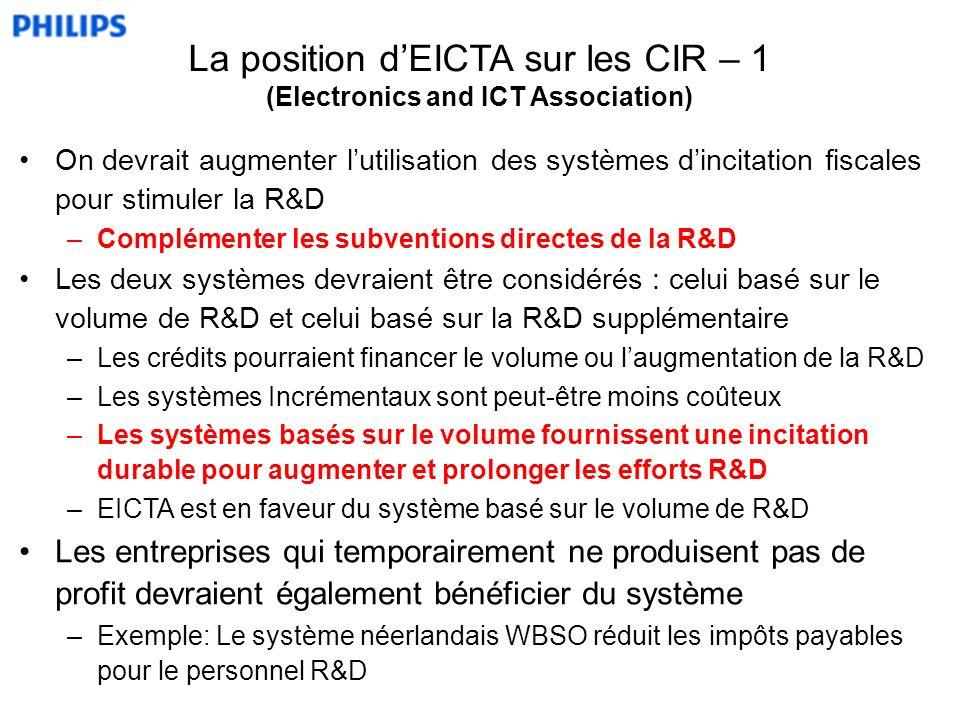 On devrait augmenter lutilisation des systèmes dincitation fiscales pour stimuler la R&D –Complémenter les subventions directes de la R&D Les deux systèmes devraient être considérés : celui basé sur le volume de R&D et celui basé sur la R&D supplémentaire –Les crédits pourraient financer le volume ou laugmentation de la R&D –Les systèmes Incrémentaux sont peut-être moins coûteux –Les systèmes basés sur le volume fournissent une incitation durable pour augmenter et prolonger les efforts R&D –EICTA est en faveur du système basé sur le volume de R&D Les entreprises qui temporairement ne produisent pas de profit devraient également bénéficier du système –Exemple: Le système néerlandais WBSO réduit les impôts payables pour le personnel R&D La position dEICTA sur les CIR – 1 (Electronics and ICT Association)