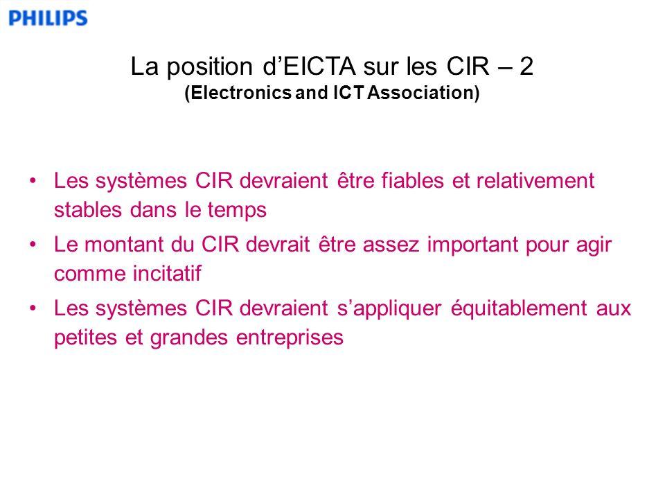 Les systèmes CIR devraient être fiables et relativement stables dans le temps Le montant du CIR devrait être assez important pour agir comme incitatif Les systèmes CIR devraient sappliquer équitablement aux petites et grandes entreprises La position dEICTA sur les CIR – 2 (Electronics and ICT Association)
