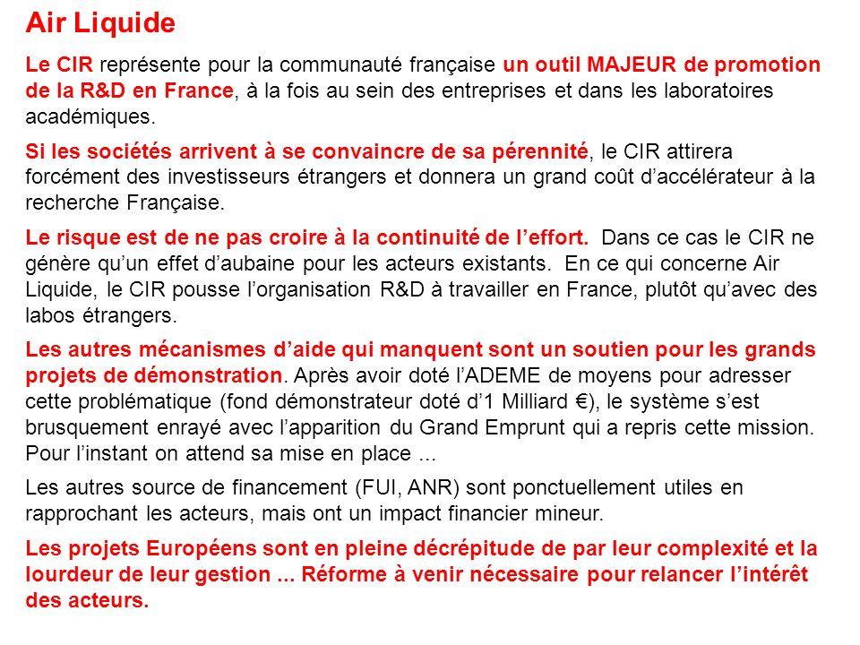 Air Liquide Le CIR représente pour la communauté française un outil MAJEUR de promotion de la R&D en France, à la fois au sein des entreprises et dans les laboratoires académiques.