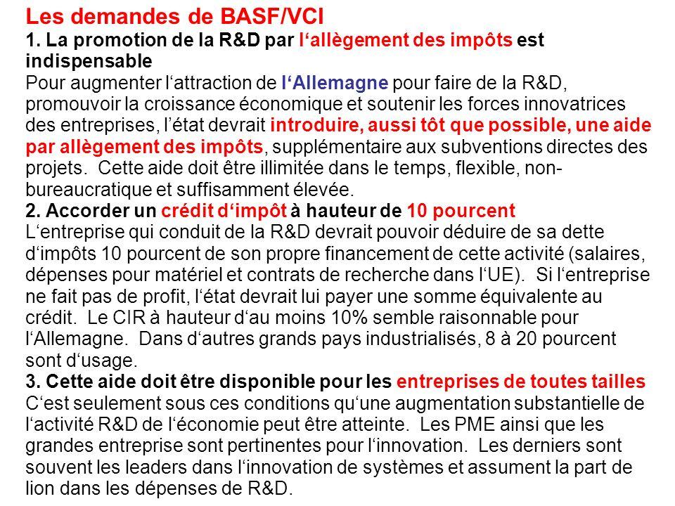 Les demandes de BASF/VCI 1. La promotion de la R&D par lallègement des impôts est indispensable Pour augmenter lattraction de lAllemagne pour faire de