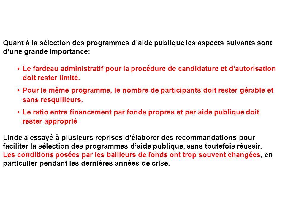 Quant à la sélection des programmes daide publique les aspects suivants sont dune grande importance: Le fardeau administratif pour la procédure de can