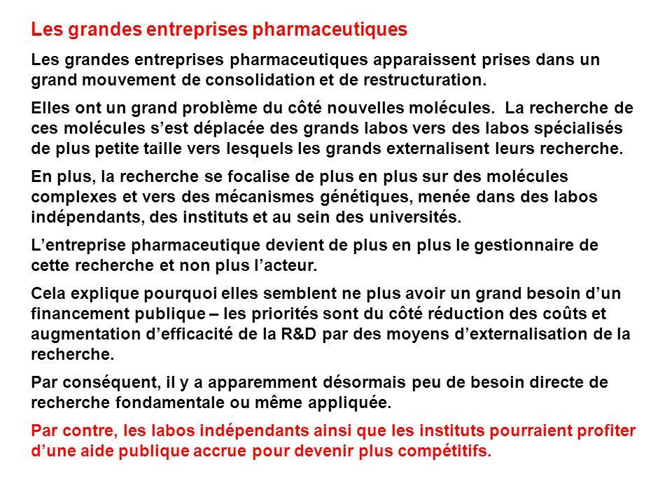 Les grandes entreprises pharmaceutiques Les grandes entreprises pharmaceutiques apparaissent prises dans un grand mouvement de consolidation et de restructuration.