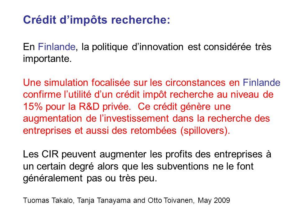 Crédit dimpôts recherche: En Finlande, la politique dinnovation est considérée très importante. Une simulation focalisée sur les circonstances en Finl