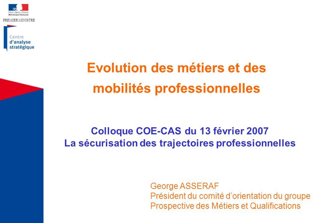 PREMIER MINISTRE Evolution des métiers et des mobilités professionnelles Colloque COE-CAS du 13 février 2007 La sécurisation des trajectoires professi