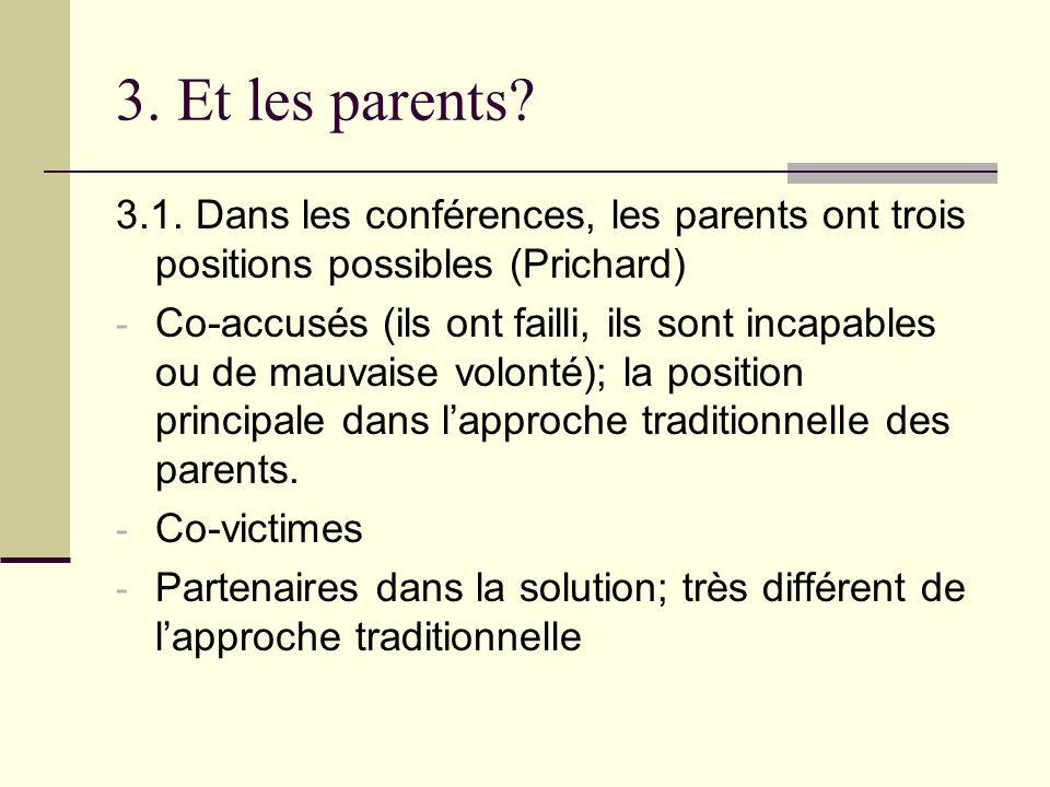 3. Et les parents? 3.1. Dans les conférences, les parents ont trois positions possibles (Prichard) - Co-accusés (ils ont failli, ils sont incapables o