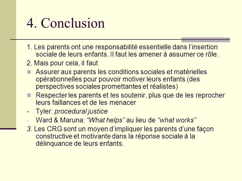 4. Conclusion 1. Les parents ont une responsabilité essentielle dans linsertion sociale de leurs enfants. Il faut les amener à assumer ce rôle. 2. Mai