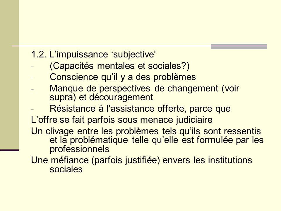 1.2. Limpuissance subjective - (Capacités mentales et sociales?) - Conscience quil y a des problèmes - Manque de perspectives de changement (voir supr