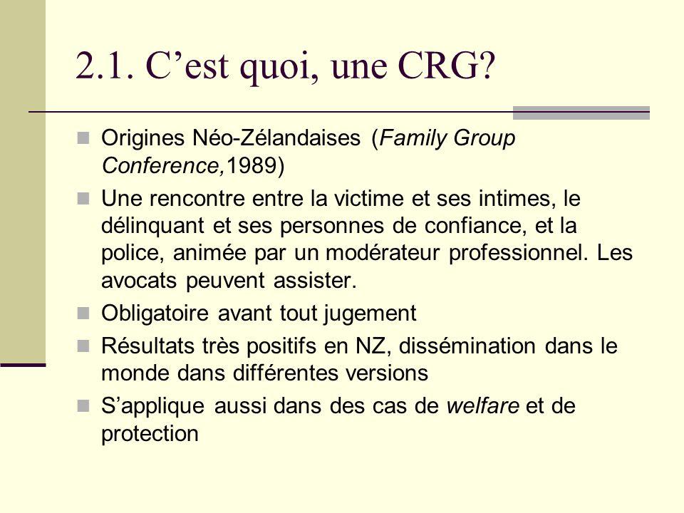 2.1. Cest quoi, une CRG? Origines Néo-Zélandaises (Family Group Conference,1989) Une rencontre entre la victime et ses intimes, le délinquant et ses p